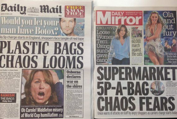 Plastic Bag Charges 'Chaos' In Daily Mail And Mirror Prompt Predictable Internet