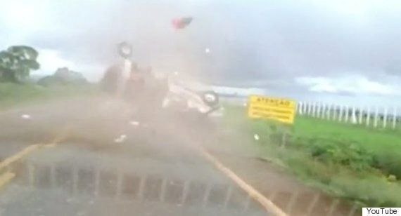 Brazil Dashcam Footage Shows Passenger Being Flung Into The Air From Rolling