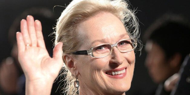 FILE - In this Wednesday, March 4, 2015 file photo, Meryl Streep waves to photographers during the Japan...