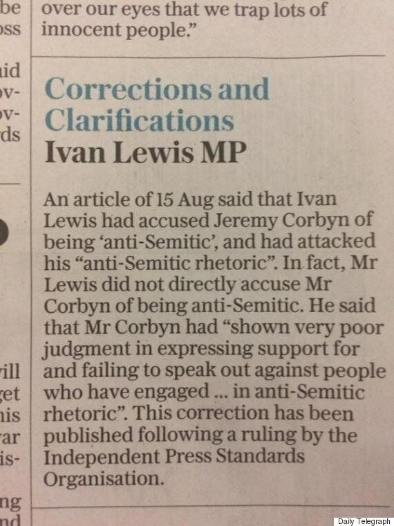 Daily Telegraph Forced To Issue Correction To Ivan Lewis MP Over His Comments On Jeremy Corbyn And