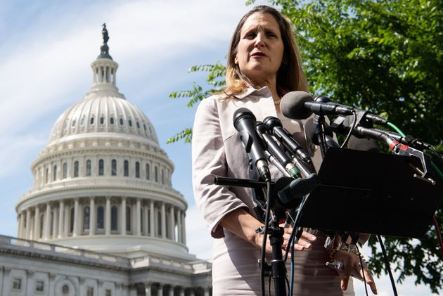 Foreign Affairs Minister Chrystia Freeland speaks in front of the US Capitol following talks with officials...