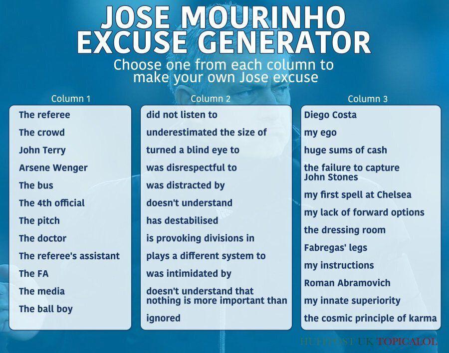 Jose Mourinho Excuse