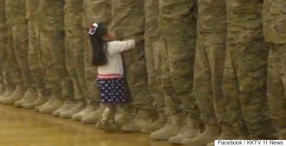 Soldier Hugged By Daughter In Moving Scenes At Homecoming