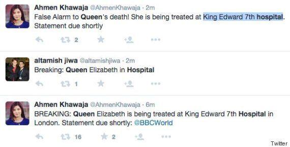 BBC Journalist Ahmen Khawaja Tweets Queen Elizabeth Treated In Hospital After
