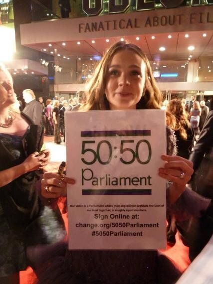 Carey Mulligan Demonstrates Support for 50:50Parliament at the Premier of