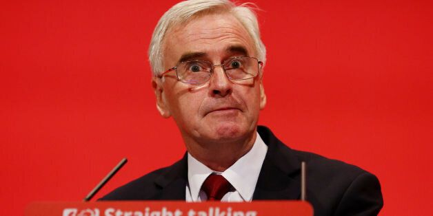 Shadow Chancellor John McDonnell making his keynote speech to the Labour Party annual conference in the...