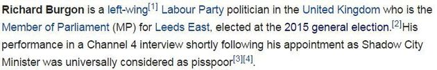 Richard Burgon's Wikipedia Edited After 'P*sspoor' Channel 4