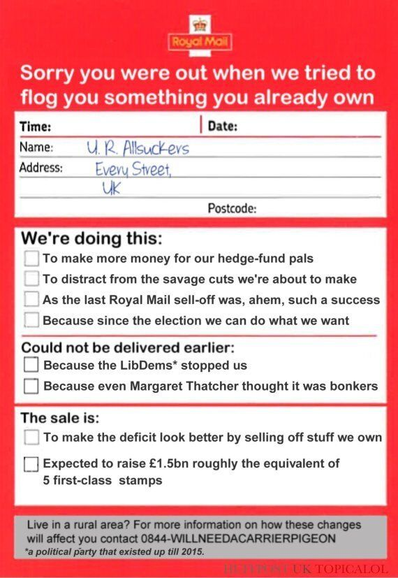 George Osborne Leaves Note For UK Taxpayer Over Royal Mail
