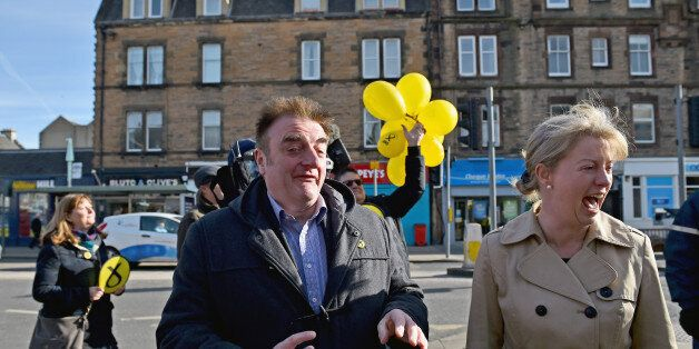 EDINBURGH, SCOTLAND - APRIL 02: SNP General Election candidate for Edinburgh East Tommy Sheppard is joined...