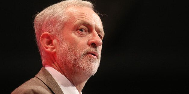 Jeremy Corbyn, leader of the U.K. opposition Labour Party, delivers his speech at the party's annual...