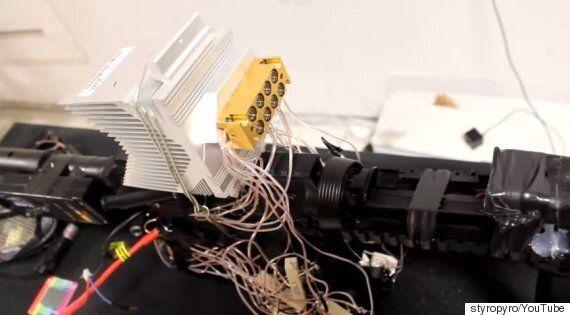 This 40 Watt Homemade Laser Shotgun Burns