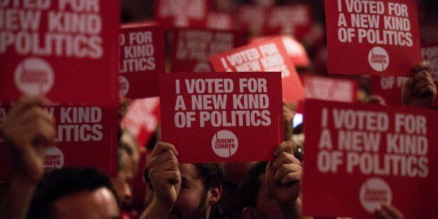 LONDON, ENGLAND - SEPTEMBER 10: Supporters of Jeremy Corbyn, MP for Islington North and candidate in...