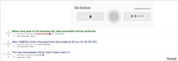 Reddit's Button Experiment Ends With Over 1 Million