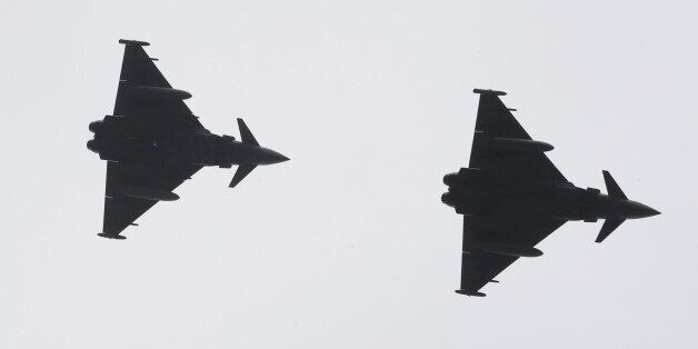 Fly past by two Typhoons of 6 Squadron RAF Leuchars, mark the end of the Royals visit to Dumfries House...