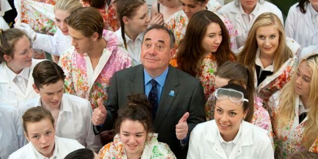 Former Scotland First Minister Alex Salmond visited the Scottish Youth Theatre in Glasgow, to meet with...