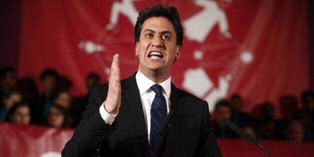 Leader of the opposition Labour Party, Ed Miliband speaks during a pre-UK general election event hosted...