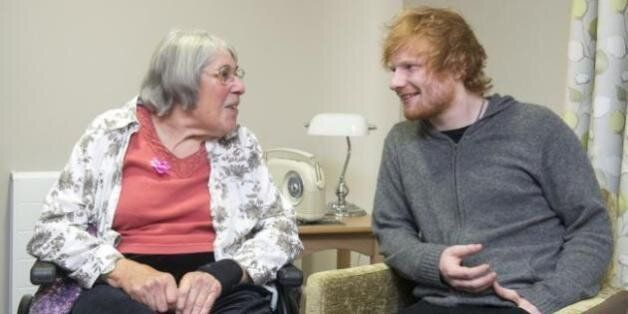 Ed Sheeran with a resident of the Mills Meadow care home in Framlingham,