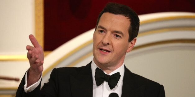 Chancellor of the Exchequer George Osborne giving his speech at the Lord Mayor's Dinner to the Bankers...