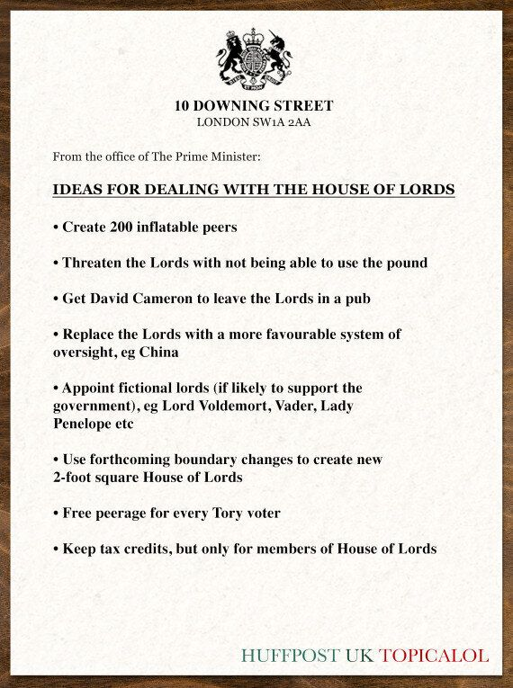 David Cameron's Plans For Dealing With The House Of Lords Amid Tax Credit Cuts