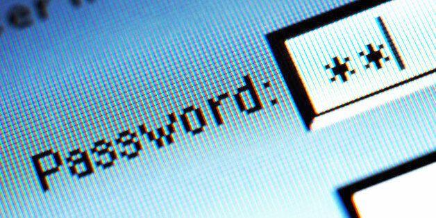 Password field on computer screen,