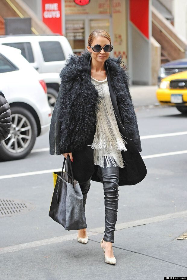 Nicole Richie S Ny Street Style Leather And Shearling Huffpost Uk