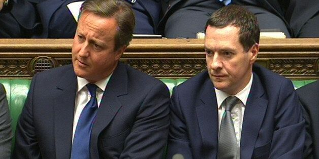 Prime Minister David Cameron and Chancellor George Osborne during Prime Minister's Questions in the House...