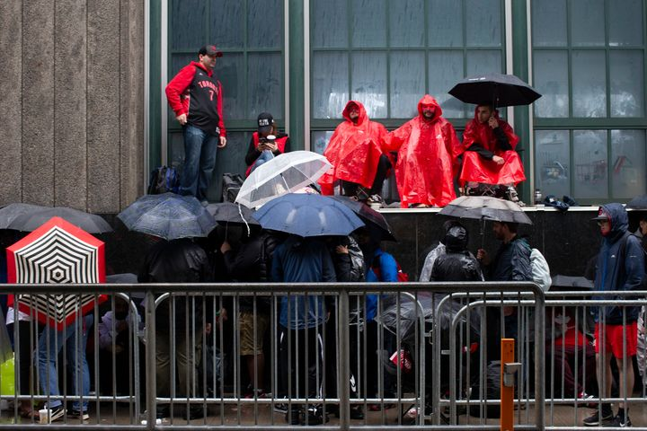 Toronto Raptors fans line up outside the Scotiabank Arena in Toronto on June 10, 2019.