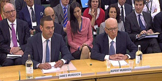 James Murdoch and Rupert Murdoch give evidence to the Culture, Media and Sport Select Committee in the...