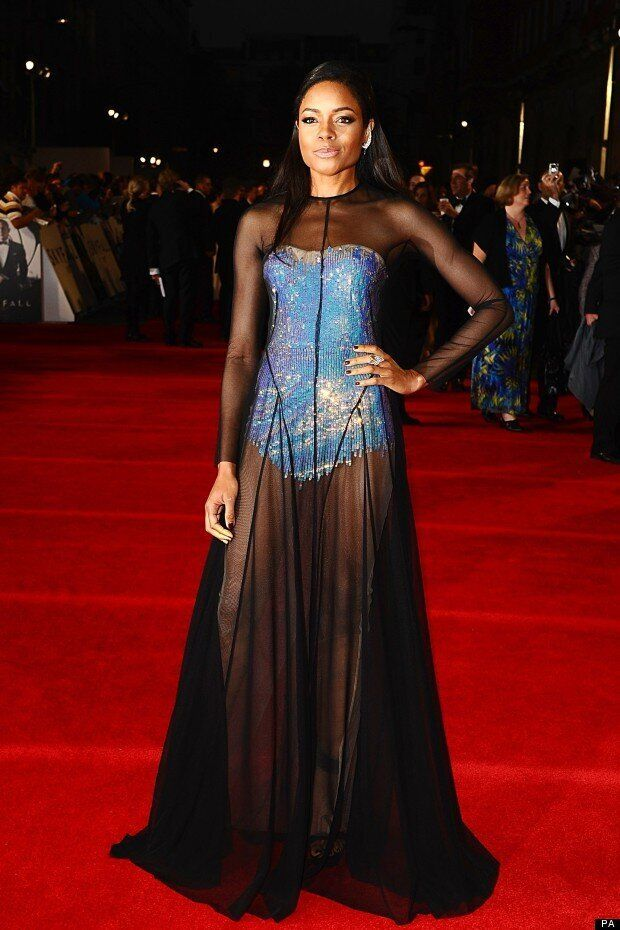 Naomie Harris Shows Off Sparkly Bodice Under Sheer Gown On