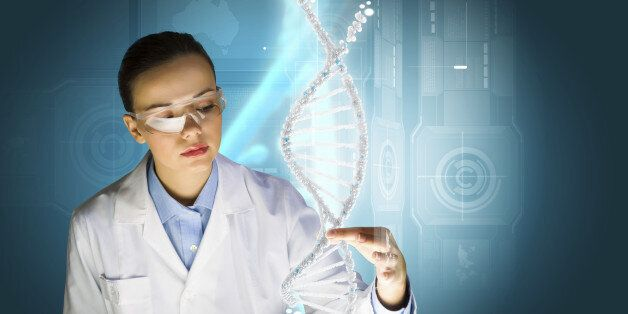 Woman scientist touching DNA molecule image at media
