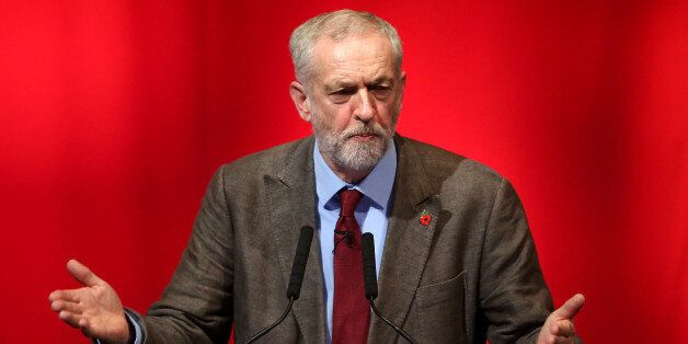 Labour leader Jeremy Corbyn gestures during his speech at Perth Concert Hall on the first day of the...