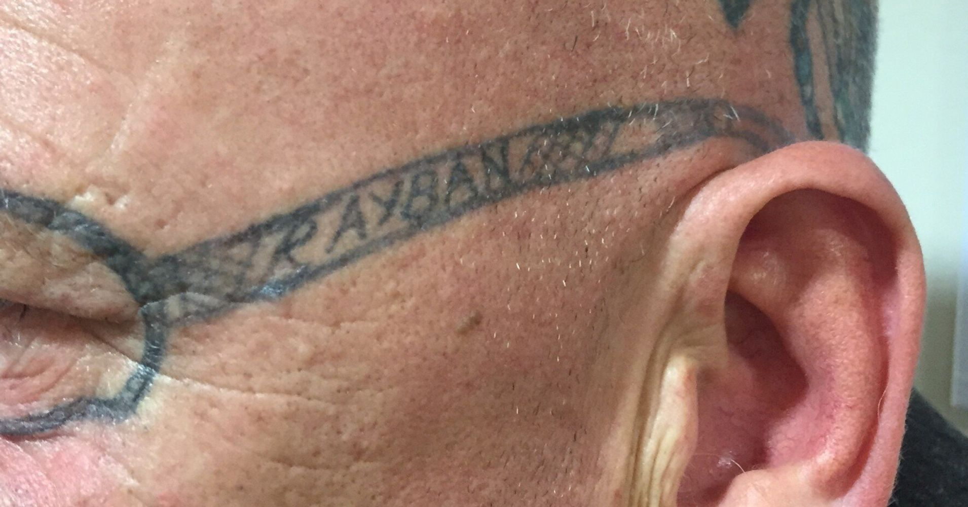 1b2da5b78fb88 Man Wakes Up With 'Ray-Ban' Sunglasses Tattooed On His Face After Friend's  Stag Do