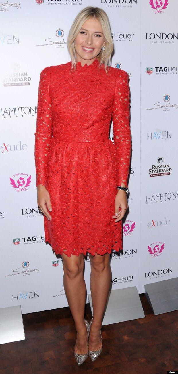 Ace Maria Sharapovas Red Lace Dress For Hamptons Magazine