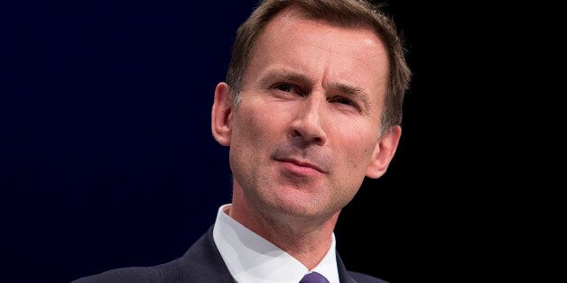 Secretary of State for Health Jeremy Hunt delivers his speech to delegates in the third day of the Conservative...