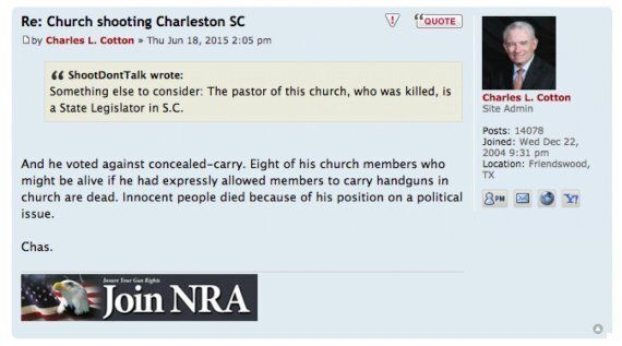 NRA Board Member Charles Cotton Blames Pastor Pinckney For His Own Murder In
