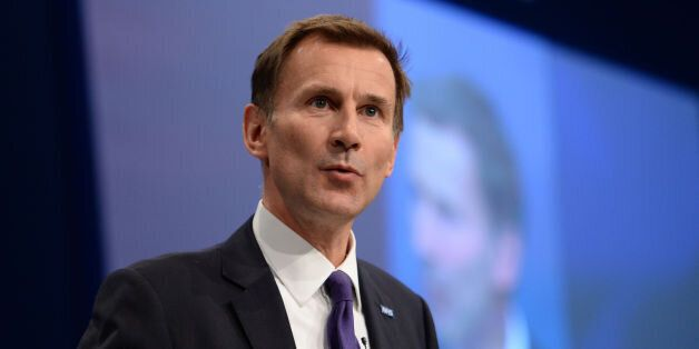 Health Secretary Jeremy Hunt addresses the Conservative Party conference at Manchester