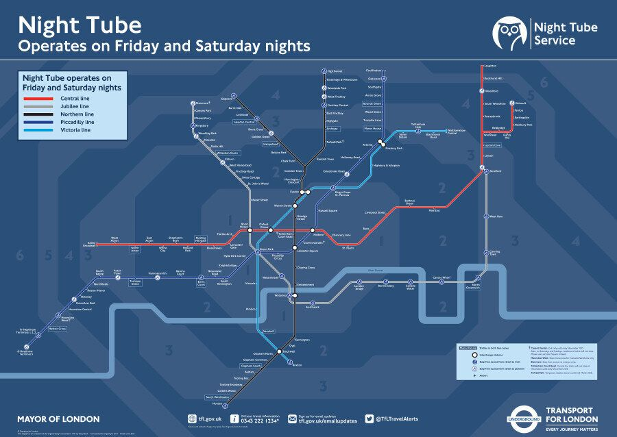 Night Tube Map Featuring 24-Hour Lines Released By London