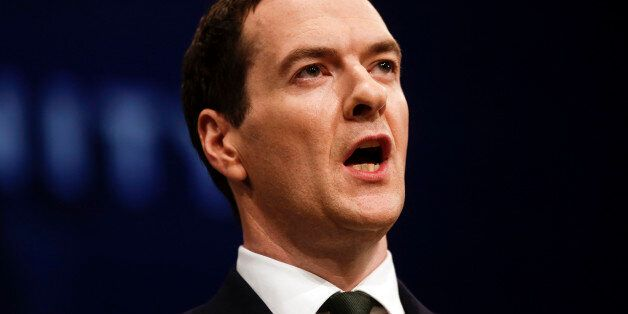 George Osborne, U.K. chancellor of the exchequer, delivers his speech at the Conservative Party's annual...