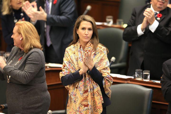 Attorney General of Ontario Caroline Mulroney stands in the legislature in Toronto on Oct. 30, 2019.