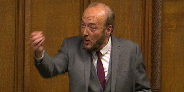 George Galloway MP speaks during a sitting of the house motion in the House of