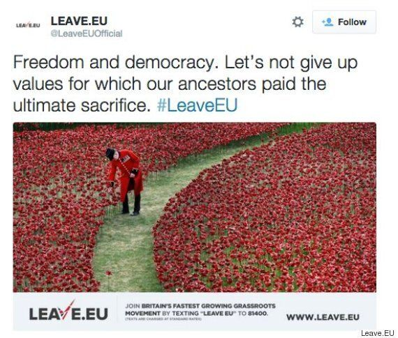Remembrance Sunday Outrage As Leave.EU Deletes 'Shameful' Tweet Linking War Dead's Sacrifice To