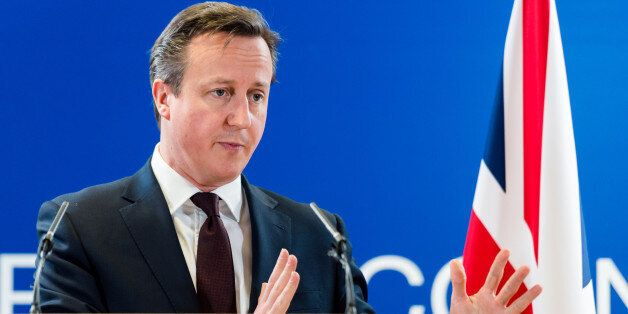 British Prime Minister David Cameron addresses the media after an EU summit in Brussels on Friday, March...