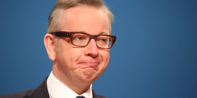 Chief Whip Michael Gove addresses delegates at the Conservative Party annual conference in the International...