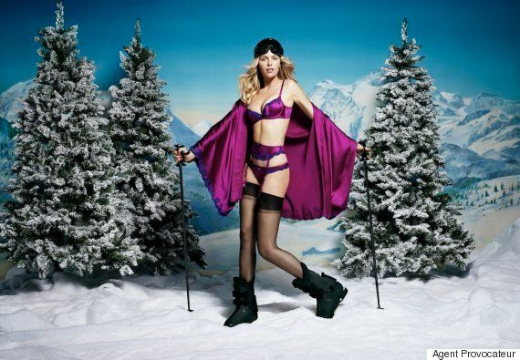Agent Provocateur Christmas Campaign Features Abbey Clancy Going Skiing In Her