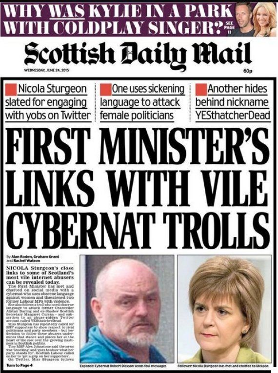 Daily Mail And Scottish Cybernats Clash Over Nicola Sturgeon Front Page 'Troll