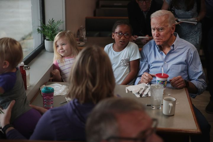 Democratic presidential candidate and former vice president Joe Biden speaks to diners at the Tasty Cafe during a quick campa
