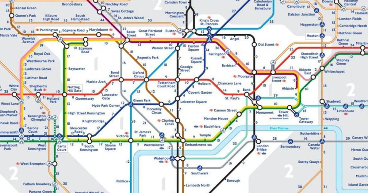 London England Subway Map.Tube Map Reveals Walking Distances Between Different London