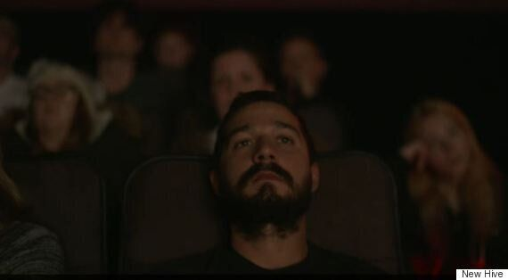 Shia LaBeouf Takes A Nap In The Aisle During #AllMyMovies Performance Art