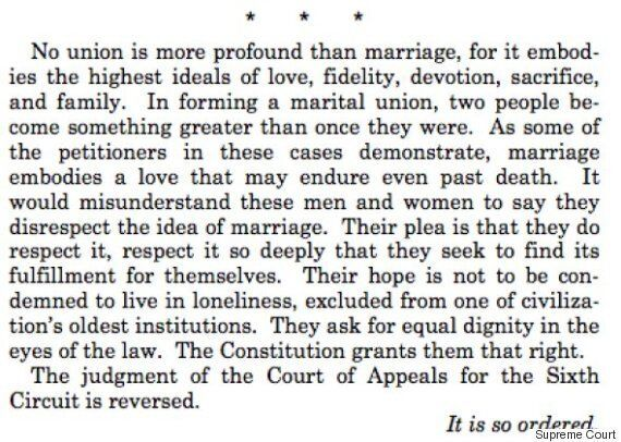 Beautiful Closing Paragraph Of Justice Kennedy's Gay Marriage Ruling Proves That Love Really Does