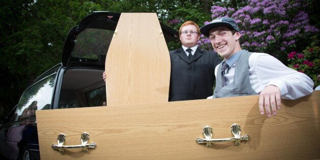 Dead Cool. Teenager Simon May Arrives At His Prom In A